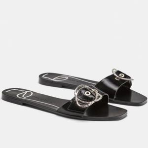 NWT Zara black leather flat sandals size 8